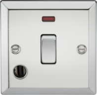 Knightsbridge Polished Chrome 20A 1G DP Switch with Neon & Flex Outlet CV834FPC