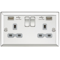 Knightsbridge Polished Chrome Double Socket with Dual USB Charger CV92PC