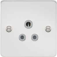 Knightsbridge Polished Chrome Flat Plate Round Pin Socket FP5APC