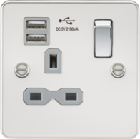 Knightsbridge Polished Chrome Flat Plate Single Socket with Dual USB Charger FPR9901PC