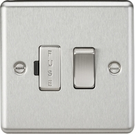 Knightsbridge Rounded Edge Brushed Chrome 13A Switched Fused Spur Unit CL63BC