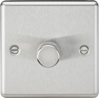 Knightsbridge Rounded Edge Brushed Chrome 1G 2W Dimmer CL2181BC