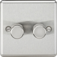 Knightsbridge Rounded Edge Brushed Chrome 2G 2W Dimmer CL2182BC