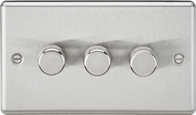 Knightsbridge Rounded Edge Brushed Chrome 3G 2W Dimmer CL2183BC