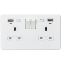 Knightsbridge Screwless Matt White 13A 2G Socket & Dual USB SFR9904NMW