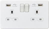 Knightsbridge Screwless Matt White 13A Double Socket & Dual USB SFR9224MW