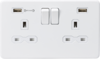 Knightsbridge Screwless Matt White 2 Gang Switched Socket with Dual USB Type A Fast Charge SFR9906MW