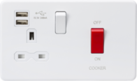 Knightsbridge Screwless Matt White Cooker Switch And Socket With USB SFR8333UMW