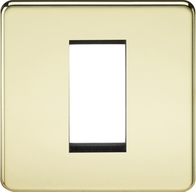 Knightsbridge Screwless Polished Brass 1G Modular Faceplate SF1GPB