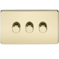 Knightsbridge Screwless Polished Brass 3G 2Way LED Dimmer SF2183PB