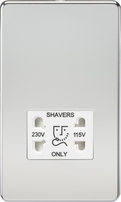 Knightsbridge Screwless Polished Chrome Dual Voltage 115V/230V Shaver Socket SF8900PCW