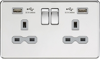Knightsbridge Screwless Polished Chrome 13Amp Double Socket with USB SFR9224PCG