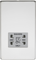 Knightsbridge Screwless Polished Chrome Dual Voltage 115V/230V Shaver Socket SF8900PCG
