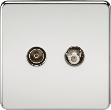 Knightsbridge Screwless Polished Chrome Isolated TV and SAT TV Outlet SF0140PC image 1