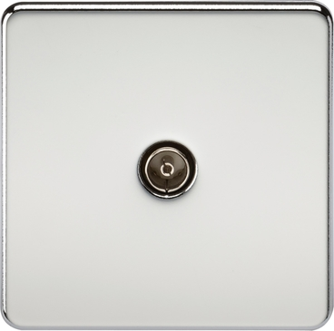 Knightsbridge Screwless Polished Chrome 1G Non Isolated TV Outlet SF0100PC image 1