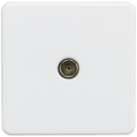 Knightsbridge Screwless Matt White 1Gang TV Coax Outlet Non- Isolated SF0100MW