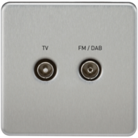 Knightsbridge Screwless Brushed Chrome 1Gang TV/FM DAB Screened Diplex Outlet SF0160BC
