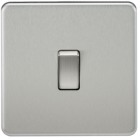 Knightsbridge Screwless Brushed Chrome 1Gang 2Way Light Switch SF2000BC
