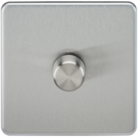 Knightsbridge Screwless Brushed Chrome 1Gang 2 Way Dimmer 400W SF2171BC
