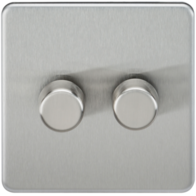 Knightsbridge Screwless Brushed Chrome 2Gang 2 Way Dimmer 400W SF2182BC