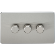Knightsbridge Screwless Brushed Chrome 3Gang 2 Way Dimmer 400W SF2173BC