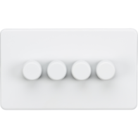 Knightsbridge Screwless Matt White 4 Gang 2 Way Dimmer 400W SF2184MW