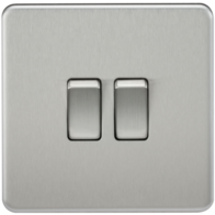 Knightsbridge Screwless Brushed Chrome 2Gang 2Way Light Switch SF3000BC