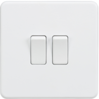 Knightsbridge Screwless Matt White 2Gang 2Way Light Switch SF3000MW