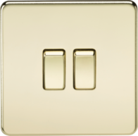 Knightsbridge 2Gang 2Way Switch Polished Brass SF3000PB