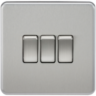 Knightsbridge Screwless Brushed Chrome 3Gang 2Way Light Switch SF4000BC