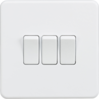Knightsbridge Screwless Matt White 3Gang 2Way Light Switch SF4000MW