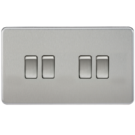Knightsbridge Screwless Brushed Chrome 4Gang 2Way Light Switch SF4100BC