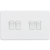 Knightsbridge Screwless Matt White 4Gang 2Way Light Switch SF4100MW