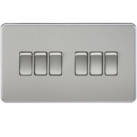 Knightsbridge Screwless Brushed Chrome 6Gang 2Way Light Switch SF4200BC