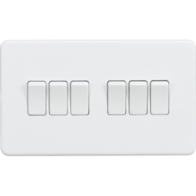 Knightsbridge Screwless Matt White 6Gang 2Way Light Switch SF4200MW
