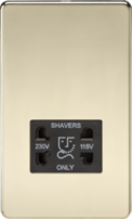 Knightsbridge SF8900PB 115/230V Shaver Socket Polished Brass