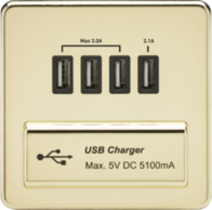 Knightsbridge SFQUADPB 1Gang Quad USB Charger Polished Brass