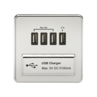 Knightsbridge Screwless 1Gang Quad USB Charger Polish Chrome SFQUADPC