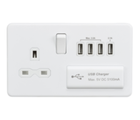 Knightsbridge Screwless Matt White 13A Socket & Quad USB SFR7USB4MW
