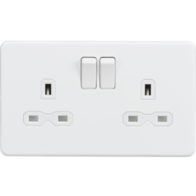 Knightsbridge  Screwless Matt White Double Socket SFR9000MW