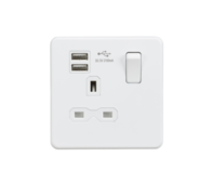 Knightsbridge Screwless Matt White 13A 1Gang switched socket & Dual USB SFR9901MW