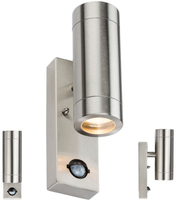 Knightsbridge WALL4LSS 230V IP44 2 X GU10 Stainless Steel Up/Down Wall Light with Pir