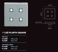 LED Plinth Light 4 Kit Square Satin Silver Blue Light PL4SQB