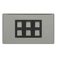 LightwaveRF Remote Control Dimmer 3 Gang Black Chrome JSJSLW430BLK