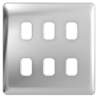 Lisse Screwless Deco Polished Chrome White 6 Gang Grid Plate - GGBL06GWPC