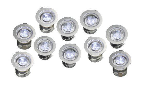 Outdoor Garden Deck LED Lights 10 Fitting Kit IP68 Blue Light R3LED10 07