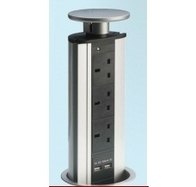 Pop Up Retractable Socket 3 Sockets 2 USB Ports POW2S