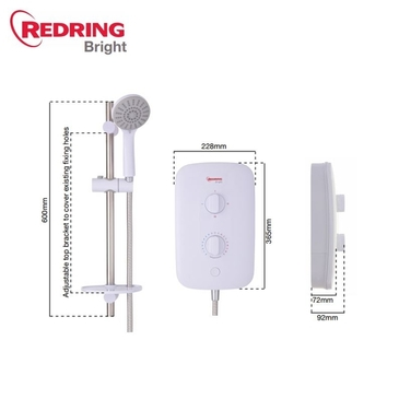 Redring Bright Electric Shower 7.5Kw White RBS7