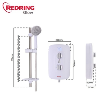 Redring Glow Electric Shower 10.5Kw White RGS10
