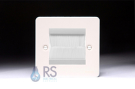 Schneider Brush Cable Outlet Wall Plate White Metal GU8260PWBRW